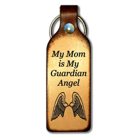My Mom is My Guardian Angel Leather Keychain - Love Chirp Gifts