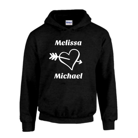 Heart Personalized with Your Names Hoodie - Love Chirp Gifts