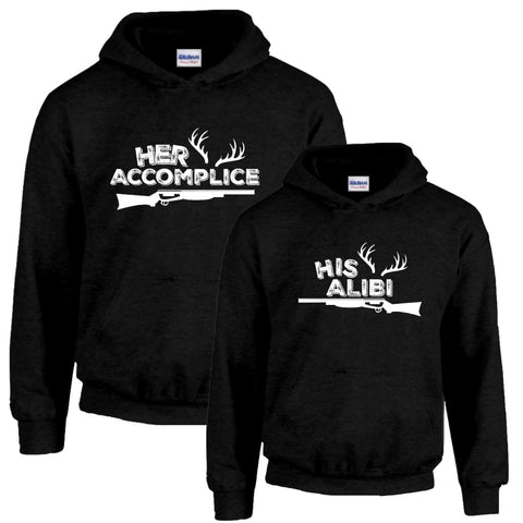 Her Accomplice and His Alibi Couples Hoodies - Love Chirp Gifts