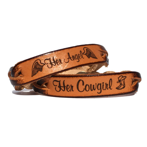 Her Cowgirl and Her Angel Leather Bracelets (Pair) - Love Chirp Gifts
