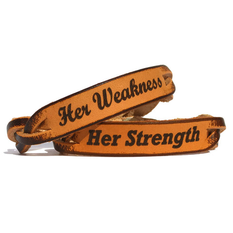 Her Strength and Her Weakness Leather Bracelets (Pair) - Love Chirp Gifts