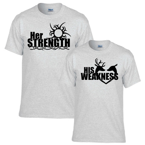 Her Strength His Weakness Couples T-shirt Set - Love Chirp Gifts
