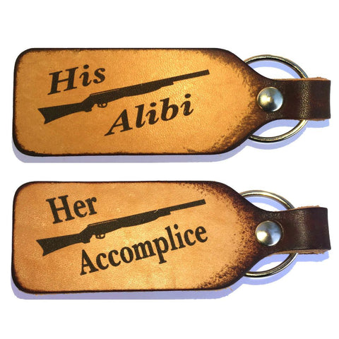 Her Accomplice His Alibi Couples Keychain Set
