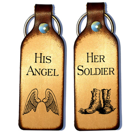 Her Soldier & His Angel Leather Couples Keychains - Love Chirp Gifts