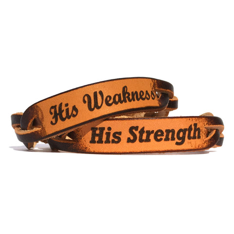 His Strength and His Weakness Leather Bracelets (Pair) - Love Chirp Gifts