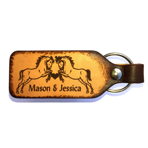 Horse Couple Engraved Leather Keychain with Free Customization - Love Chirp Gifts