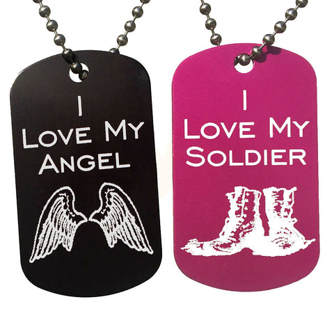 I Love My Angel & I Love My Soldier Dog Tag Necklaces (Pair) - Love Chirp Gifts
