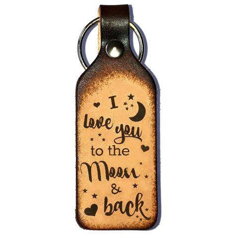 I Love You to the Moon & Back Leather Keychain - Love Chirp Gifts