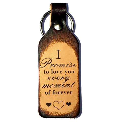 I Promise to Love You Leather Keychain - Love Chirp Gifts