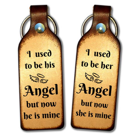 I Used To Be His (or Her) Angel Leather Keychain - Love Chirp Gifts