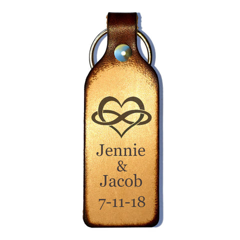 Infinity Heart Laser Engraved Personalized Keychain - Love Chirp Gifts