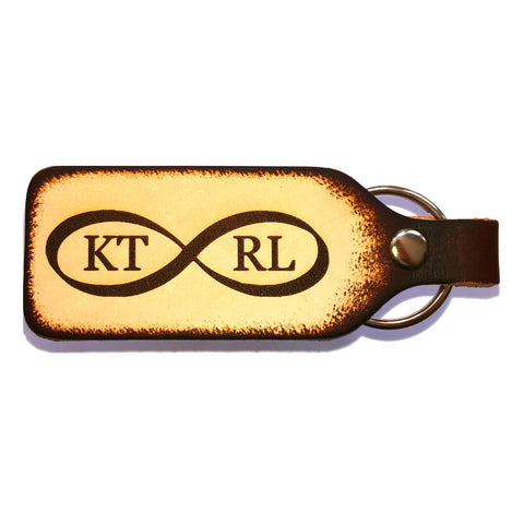 Infinity Sign Couples Personalized Leather Engraved Keychain - Love Chirp Gifts