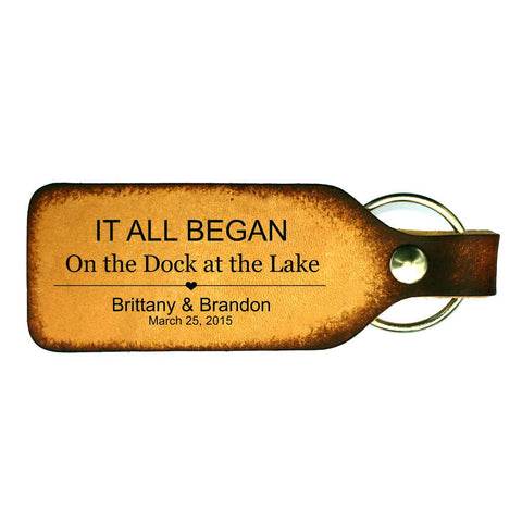 It All Began Couples Leather Keychain
