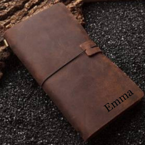 Personalized Leather Engraved Journal - Love Chirp Gifts