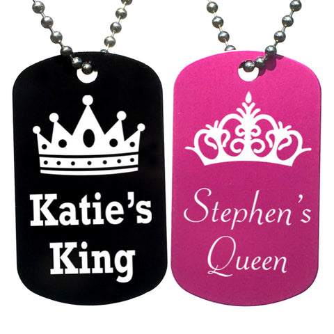 King & Queen Personalized with Your Names Dog Tag Necklaces (Pair) - Love Chirp Gifts