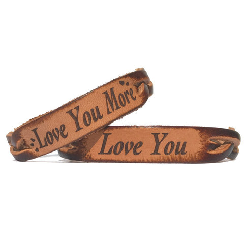 Love You & Love You More Leather Bracelets (Pair) - Love Chirp Gifts