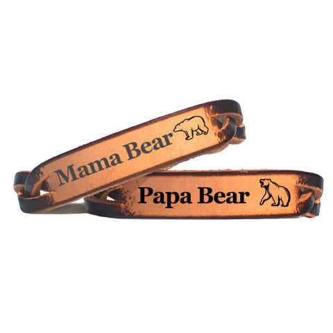 Mama Bear & Papa Bear Leather Couples Bracelet Set - Love Chirp Gifts