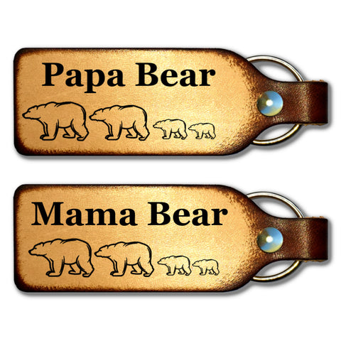 Mama Bear & Papa Bear Couples Leather Keychains - Love Chirp Gifts