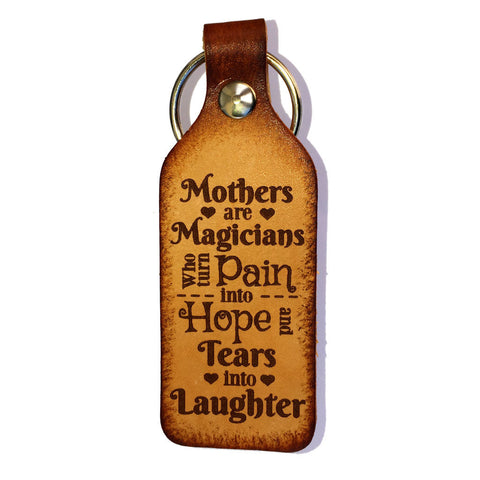 Mothers are Magicians Leather Keychain - Love Chirp Gifts