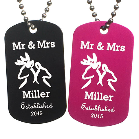 Mr & Mrs Buck and Doe Dog Tag Necklaces with Free Customization (Pair) - Love Chirp Gifts