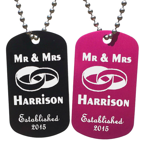 Mr & Mrs Dog Tag Necklaces with Free Customization (Pair) - Love Chirp Gifts