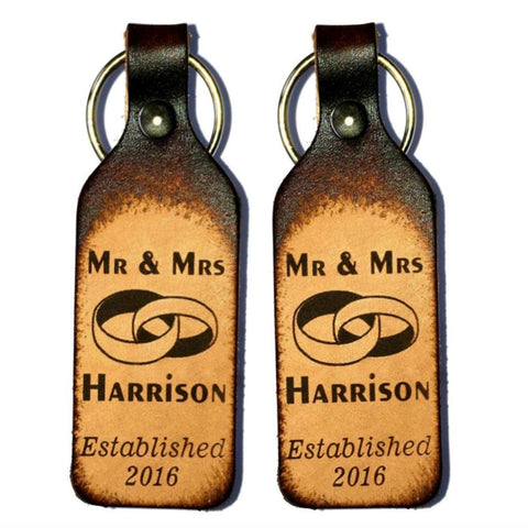 Mr & Mrs Leather Keychain - Love Chirp Gifts