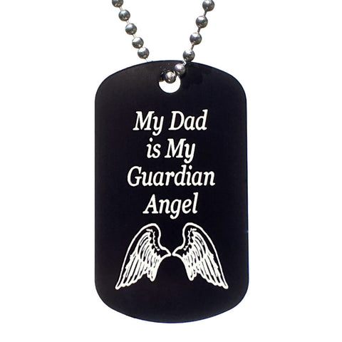 My Dad is My Guardian Angel Dog Tag Necklace