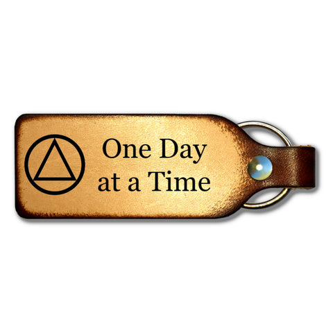 One Day at a Time Leather Keychain with AA Symbol