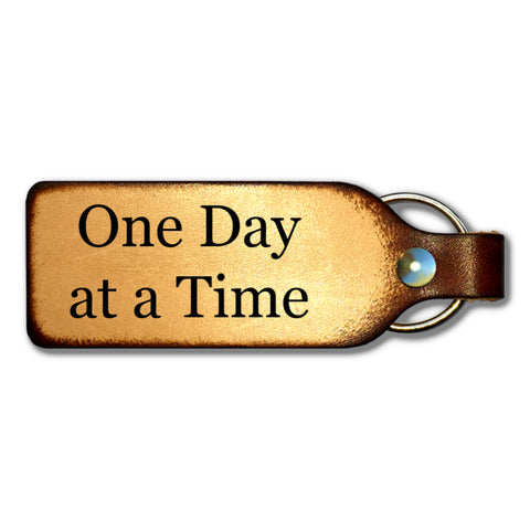One Day at a Time Leather Keychain