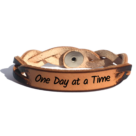 One Day at a Time Leather Bracelet - Love Chirp Gifts