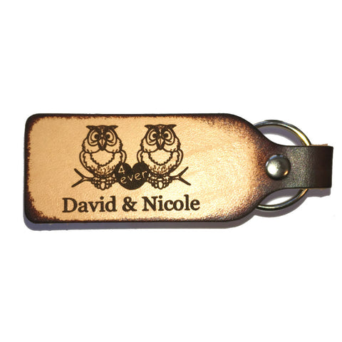 Owl Couple Personalized Leather Engraved Keychain