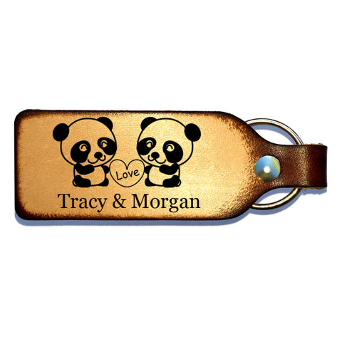Panda Love Leather Engraved Couples Keychain - Love Chirp Gifts