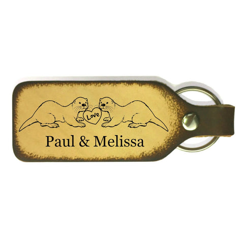 Otter Couple Leather Engraved Keychain - Love Chirp Gifts