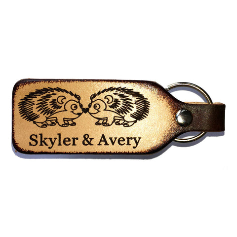 Porcupine Couple Leather Engraved Keychain Personalized With Your Names
