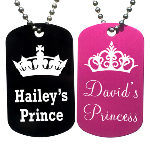 Prince & Princess Personalized with Your Names Dog Tag Necklaces (Pair)