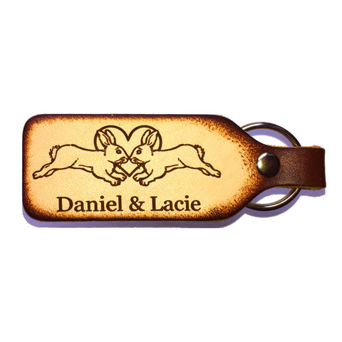 Rabbit Couple Engraved Leather Keychain with Free Customization - Love Chirp Gifts