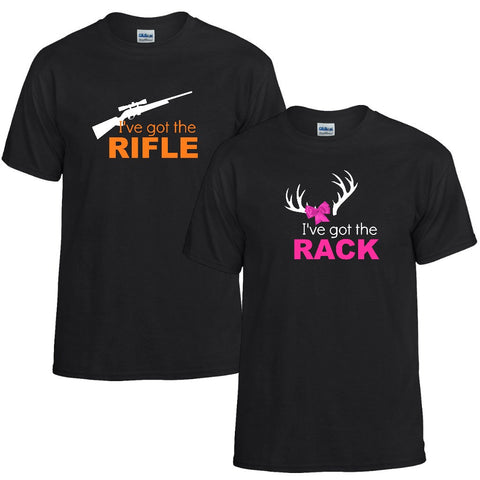 Rifle and Rack Couples Unisex T-shirt - Love Chirp Gifts