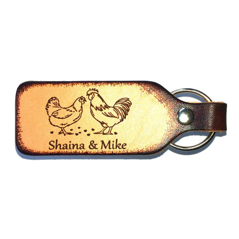 Rooster and Hen Couples Keychains Personalized with Your Names