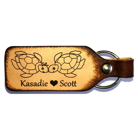 Sea Turtle Love with your Names Couples Keychain