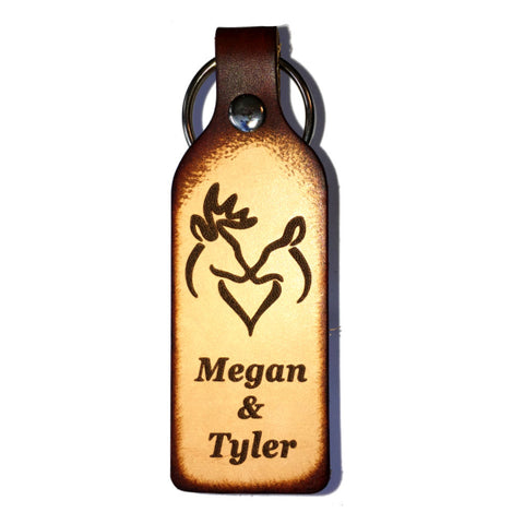 Snuggling Buck and Doe with Your Names Leather Keychain