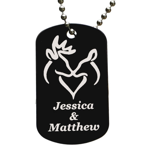 Snuggling Buck & Doe with Your Names Dog Tag Necklace - Love Chirp Gifts
