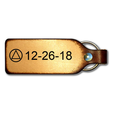 Sobriety Date Leather Keychain with AA Symbol