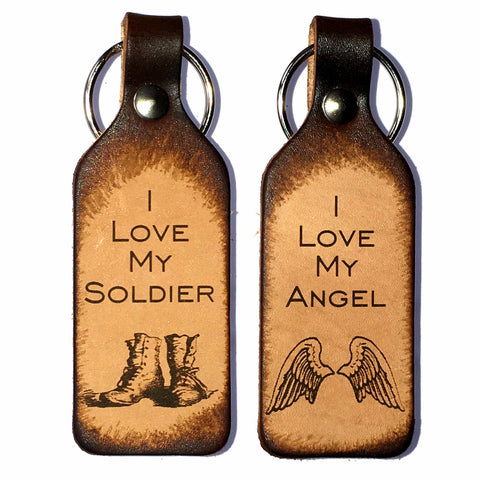 I Love My Angel & I Love My Soldier Leather Keychains - Love Chirp Gifts
