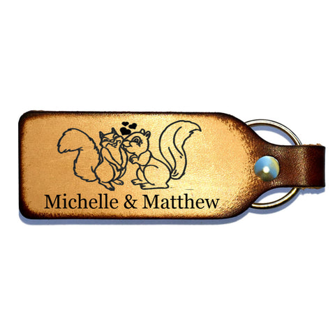 Squirrel Couple Leather Keychain with Free Customization - Love Chirp Gifts