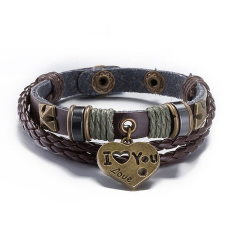 Christie's I Love You Leather and Hemp Bracelet - Love Chirp Gifts