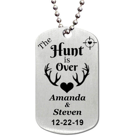 The Hunt is Over Stainless Steel Dog Tag Necklace - Love Chirp Gifts