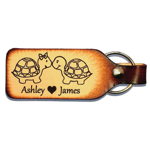Snuggling Turtle Couple Leather Keychain with Free Customization - Love Chirp Gifts