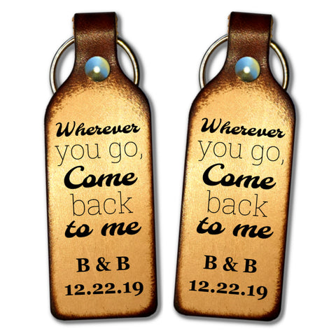 Wherever You Go Come Back to Me Personalized Keychain - Love Chirp Gifts