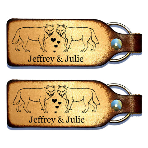 Wolf Couple Leather Keychain with Free Customization - Love Chirp Gifts
