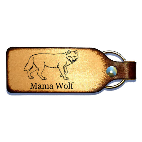 Wolf with Name Leather Keychain - Love Chirp Gifts
